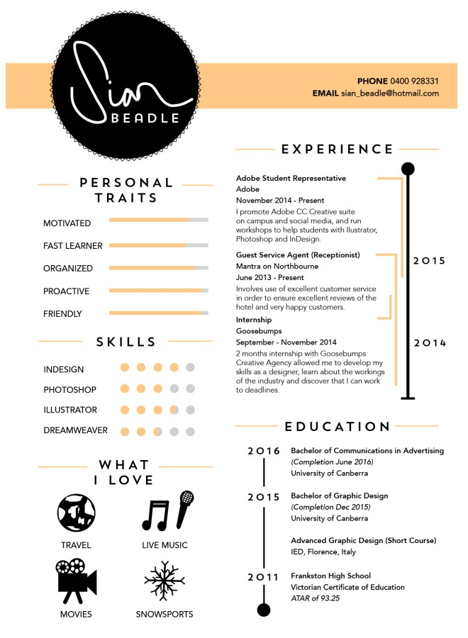 sian beadle Graphic design black resume